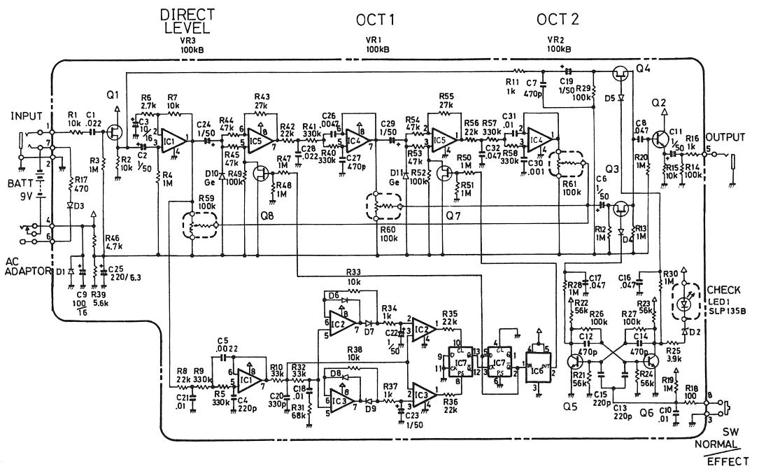 boss oc 2 octave pedal schematic diagram