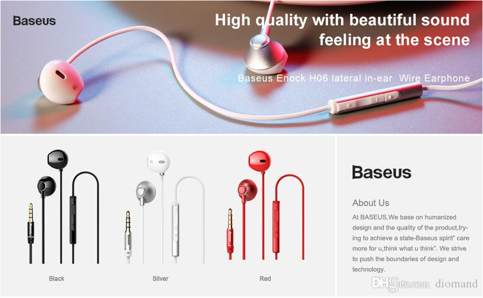 baseus enock h06 lateral in ear wire earphone black red silver earphone for phone stereo sound headset in ear earphone wireless earphones wireless