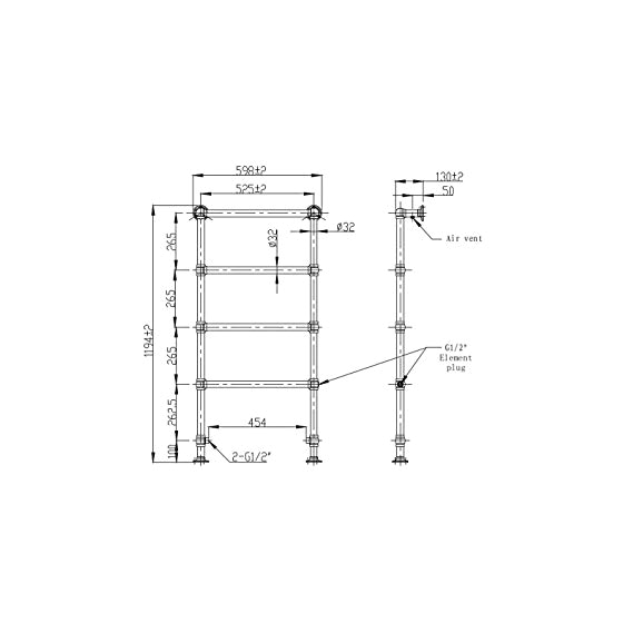 enki traditional 1200mm 4 rung heated towel rail floor standing nickel ball joint amazon co uk diy tools
