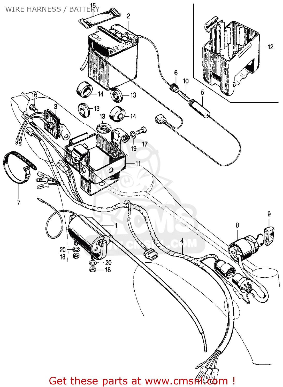 honda ct70 trail 70 k0 usa wire harness battery