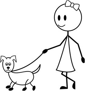 coloring page of a little girl walking her dog on a leash 0515 1105 1007 1317 smu1 jpg