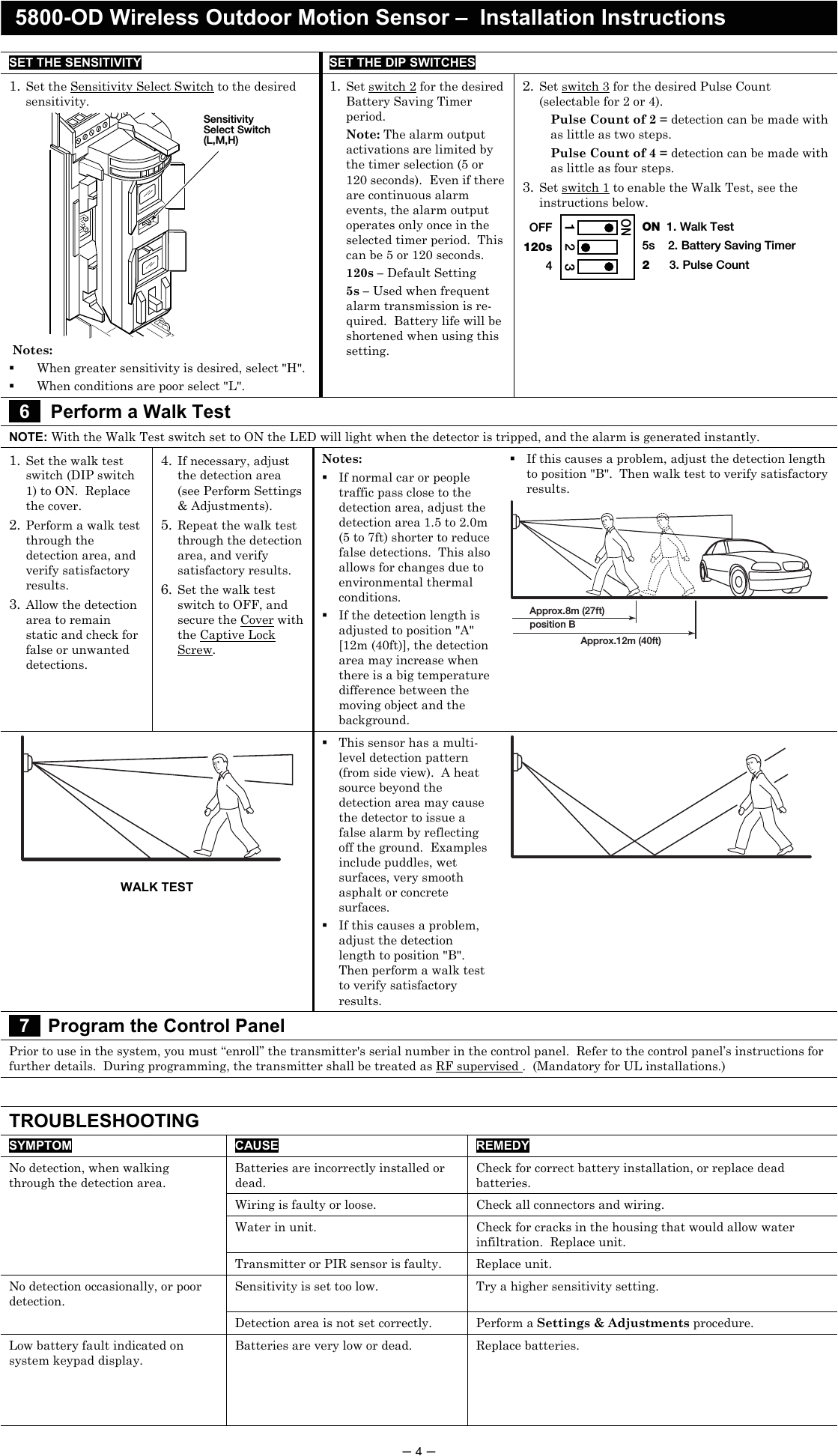 page 4 of 8dl5800pir od security transmitter user manual 5890 od wireless outdoor motion