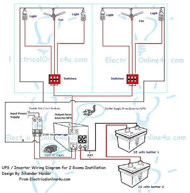 ups inverter wiring instillation for 2 rooms with wiring diagram