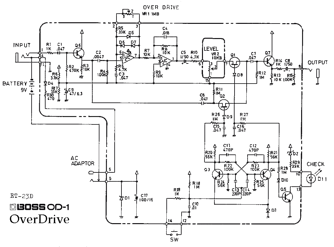 ibanez rg wiring a boss od 1 overdrive guitar pedal schematic diagram