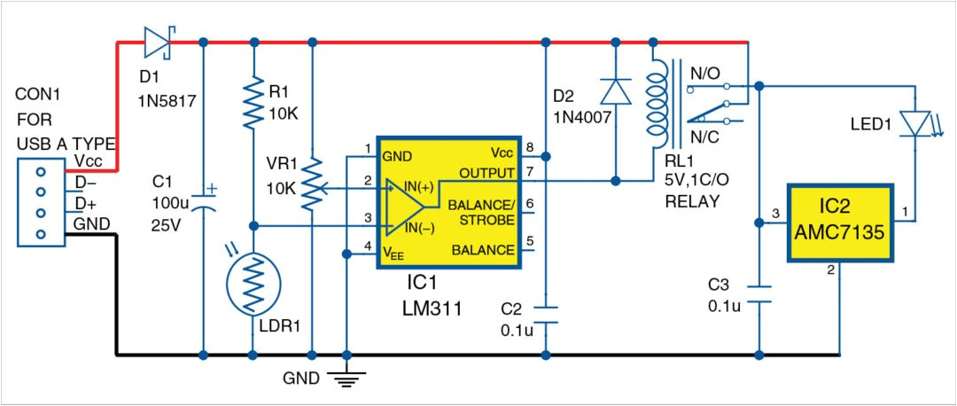 circuit diagram of the webcam view illuminator