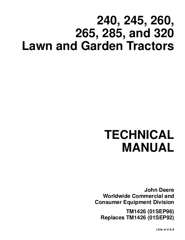 John Deere 260 Lawn Tractor Wiring Diagram John Deere 260 Lawn and Garden Tractor Service Repair Manual