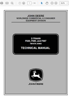 john deere f620 f680 f687 ztrak technical service manual