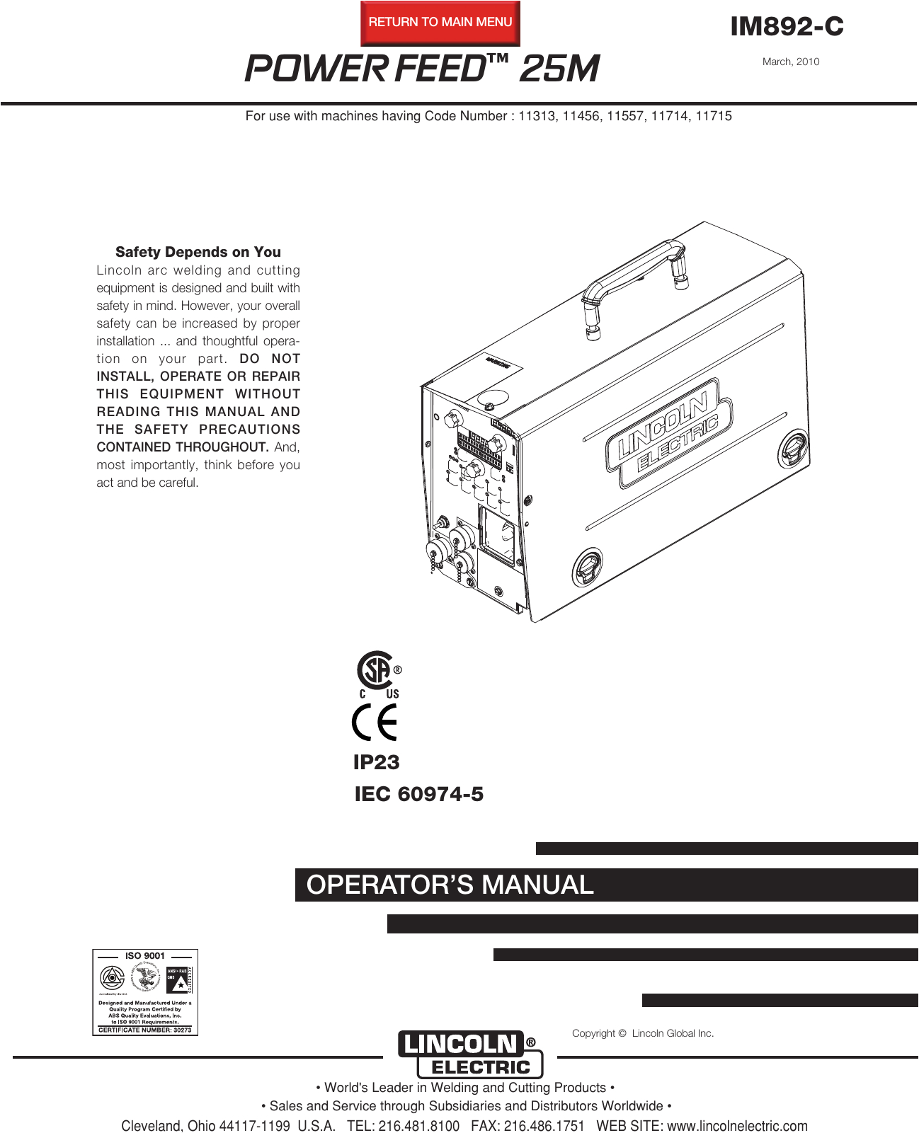 K870 Amptrol Wiring Diagram Lincoln Electric Power Feed Im892 C Users Manual