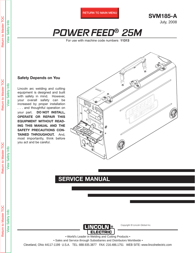 lincoln electric svm185 a user s manual
