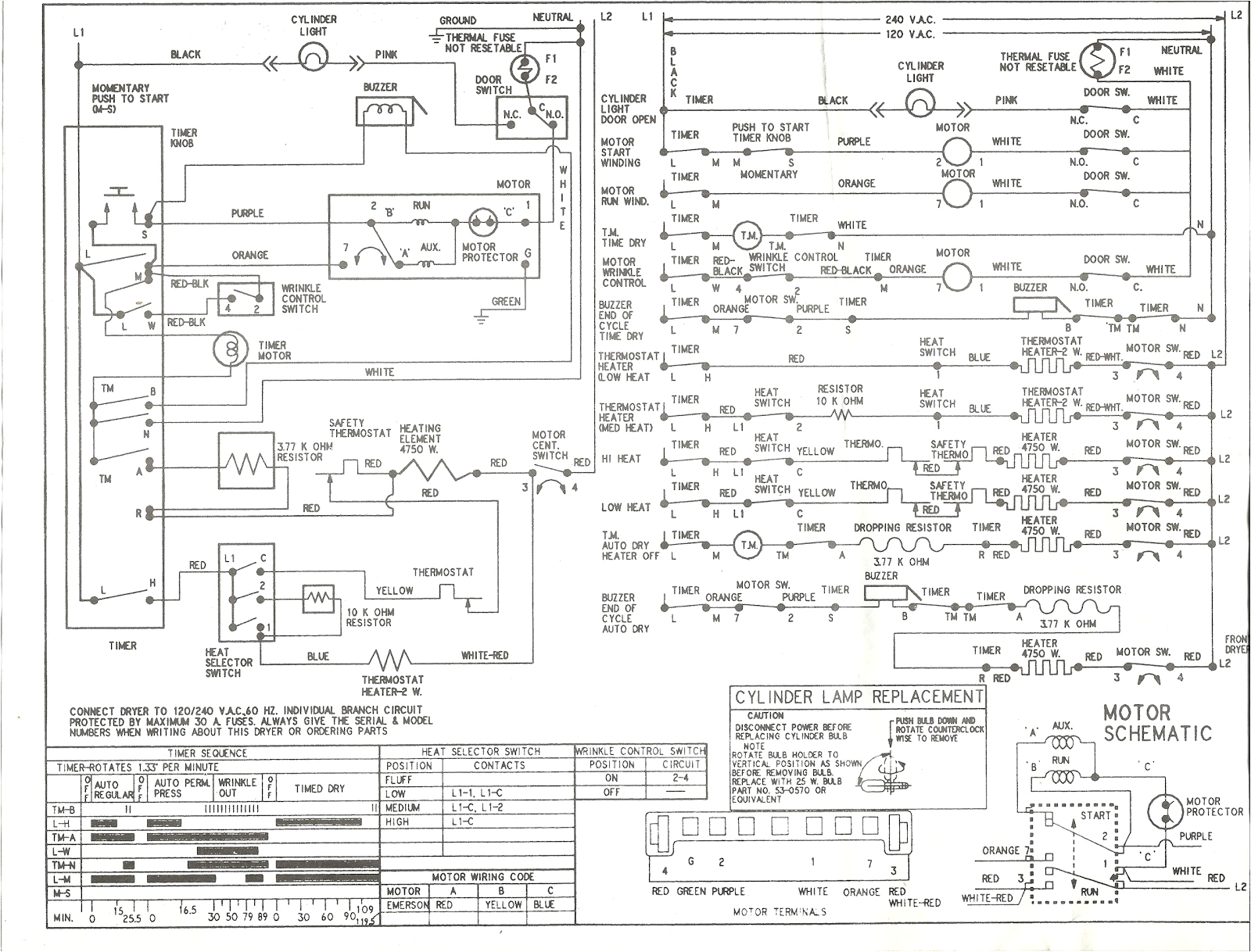 kenmore series electric dryer wiring diagram schematic