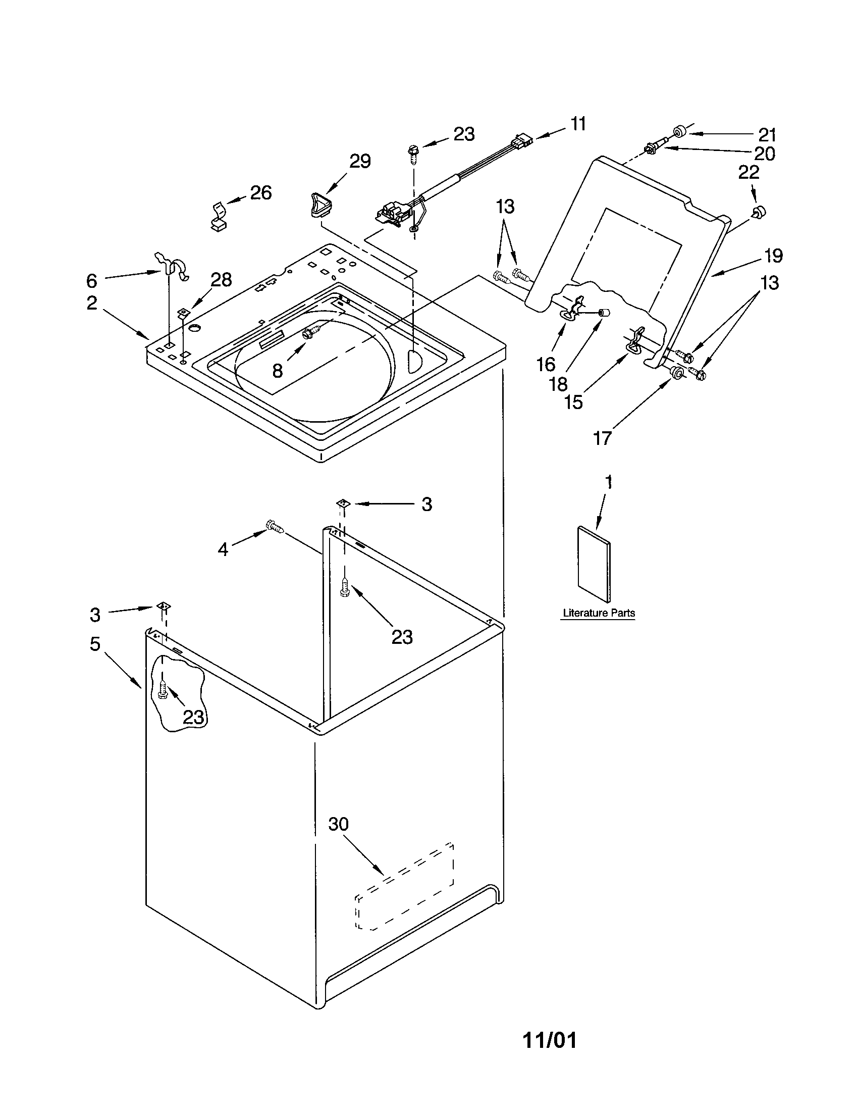 kenmore 11023812100 top and cabinet diagram