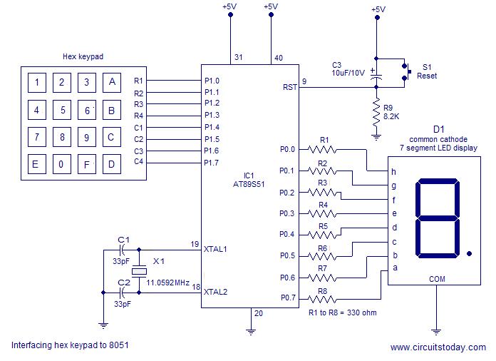 interfacing 4x4 keypad to 8051