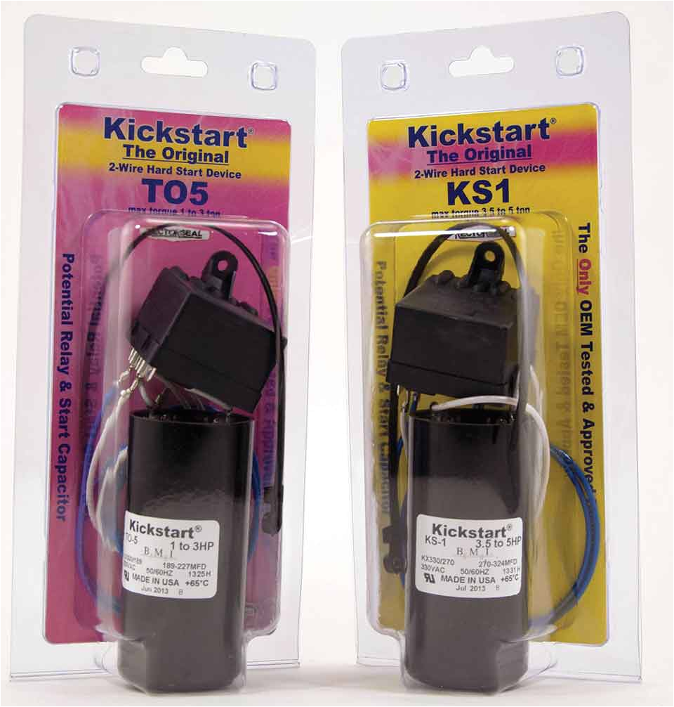 then there are the more traditional hard start kits that use the tried and true start capacitor and potential relay instead of a ptcr