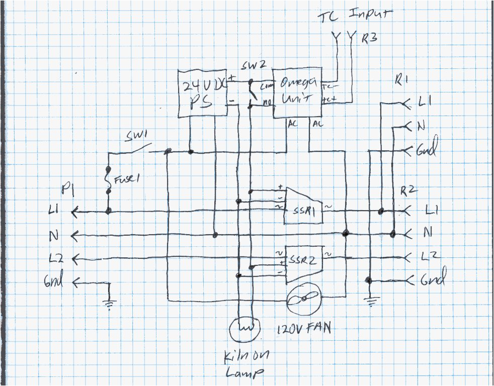 my home made kiln controllerschematic of the kiln controller