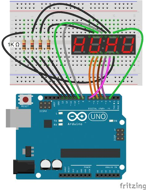 arduino 7 segment display 4 digit display connection diagram