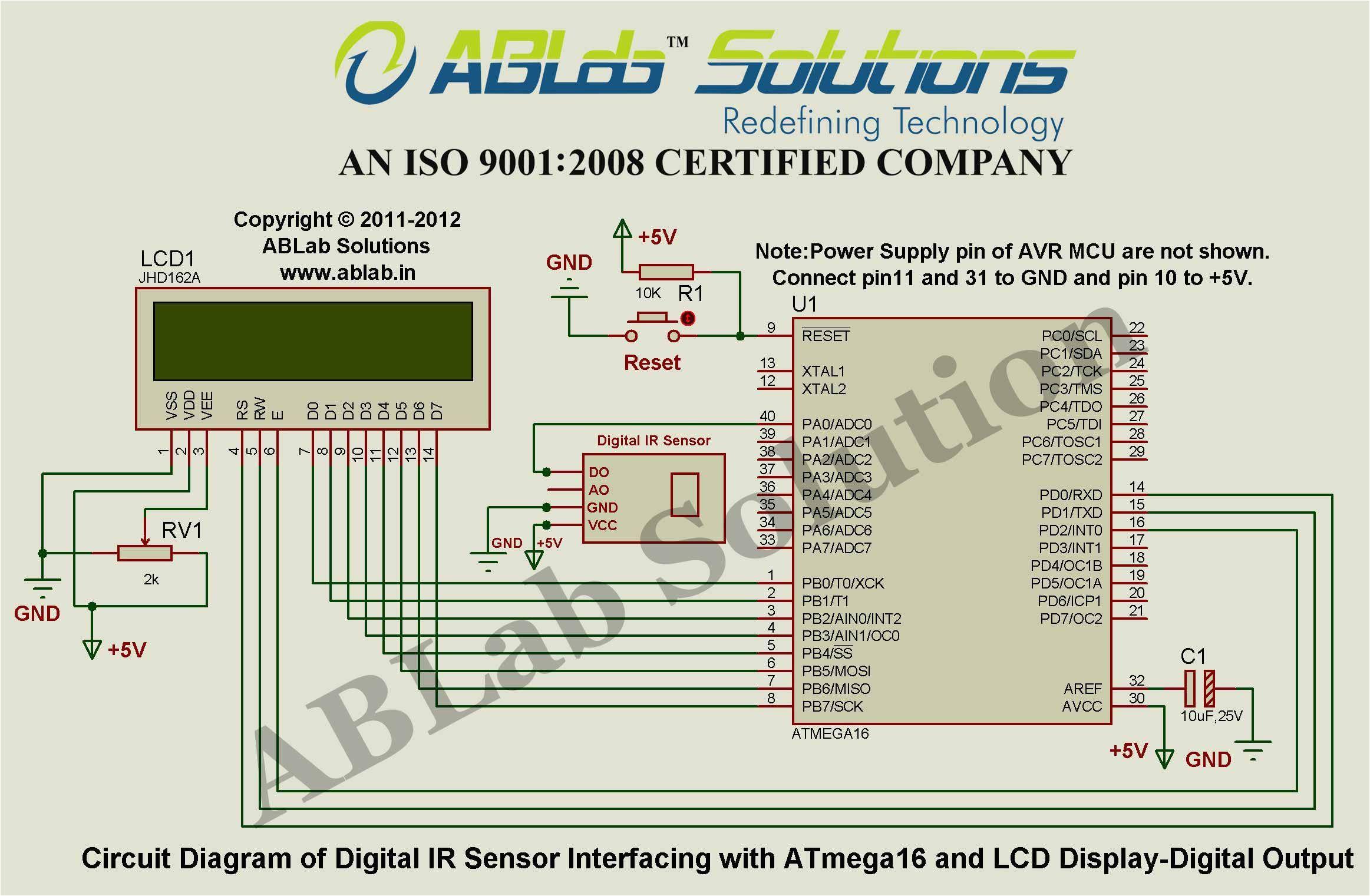 digital ir sensor interfacing with avr atmega16 microcontroller and lcd display digital output circuit diagram ablab solutions