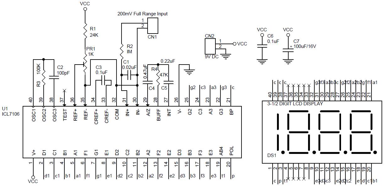 lcd dpm digital panel meter using icl7106 circuit pcb layout digital panel meter circuit diagram