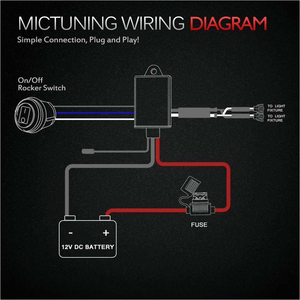 amazon com mictuning led light bar wiring harness 40 amp relay fuseamazon com mictuning led light