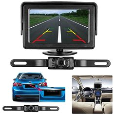 emmako backup camera and monitor kit for car suv pickup truck waterproof rear view camera system wire single power reverse view fulltime view optional night