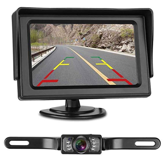 leekooluu reverse camera and monitor kit license plate backup camera parking system for car vehicle waterproof