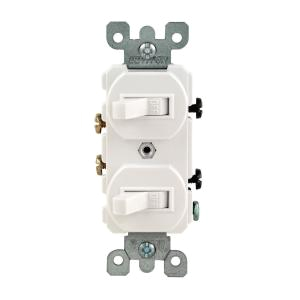 15 amp combination double switch white