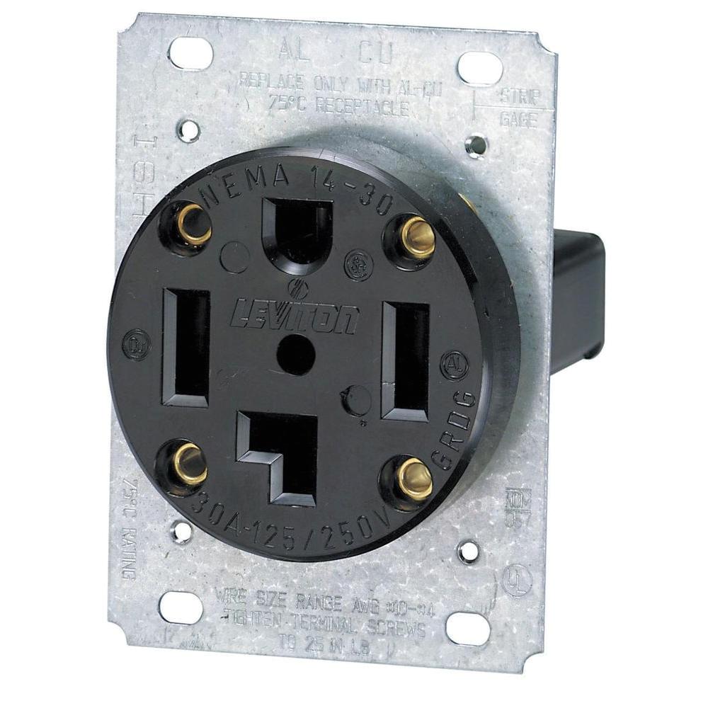 30 amp industrial flush mount shallow single outlet black