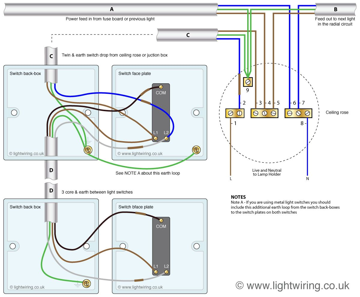 wiring a 2 way lighting switch wiring diagram show two way light switching 3 wire