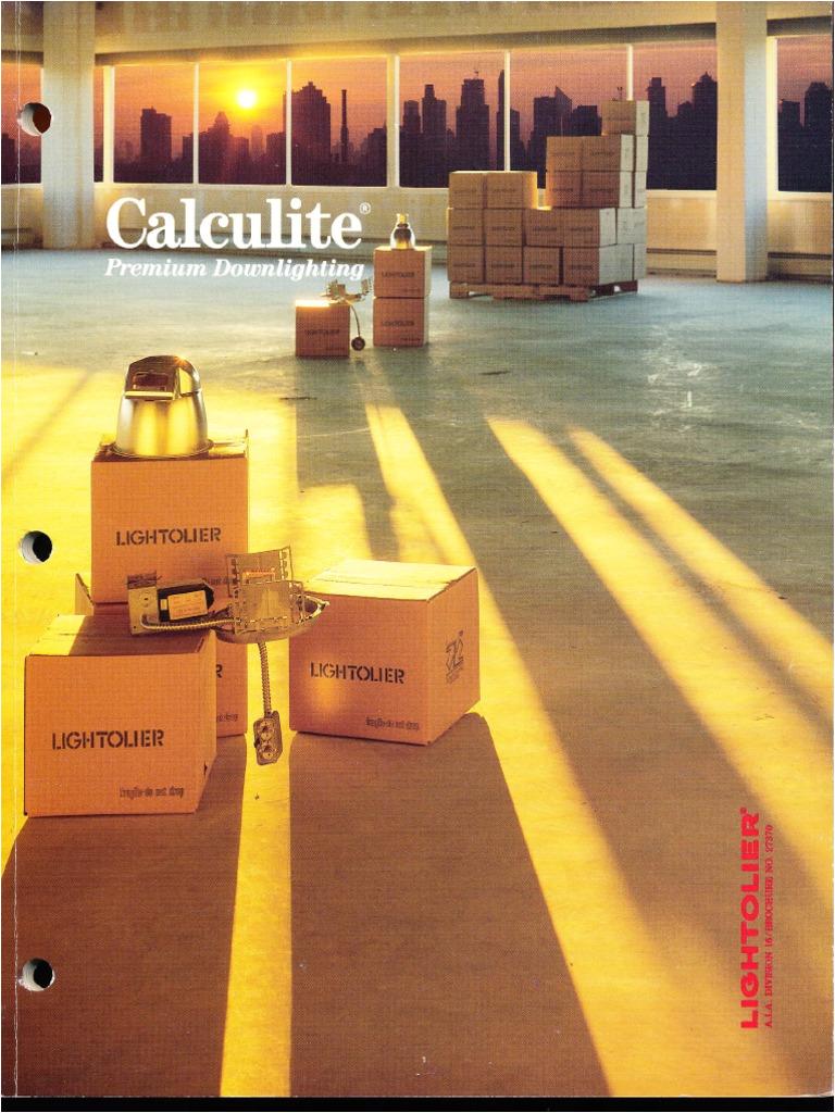 lightolier calculite downlighting catalog 1990 fluorescent lamp incandescent light bulb