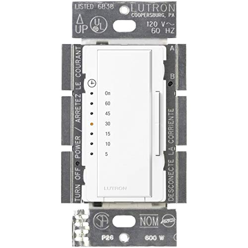 lutron maestro countdown timer for fans or halogen and incandescent bulbs single pole ma t51 wh white wall timer switches amazon com