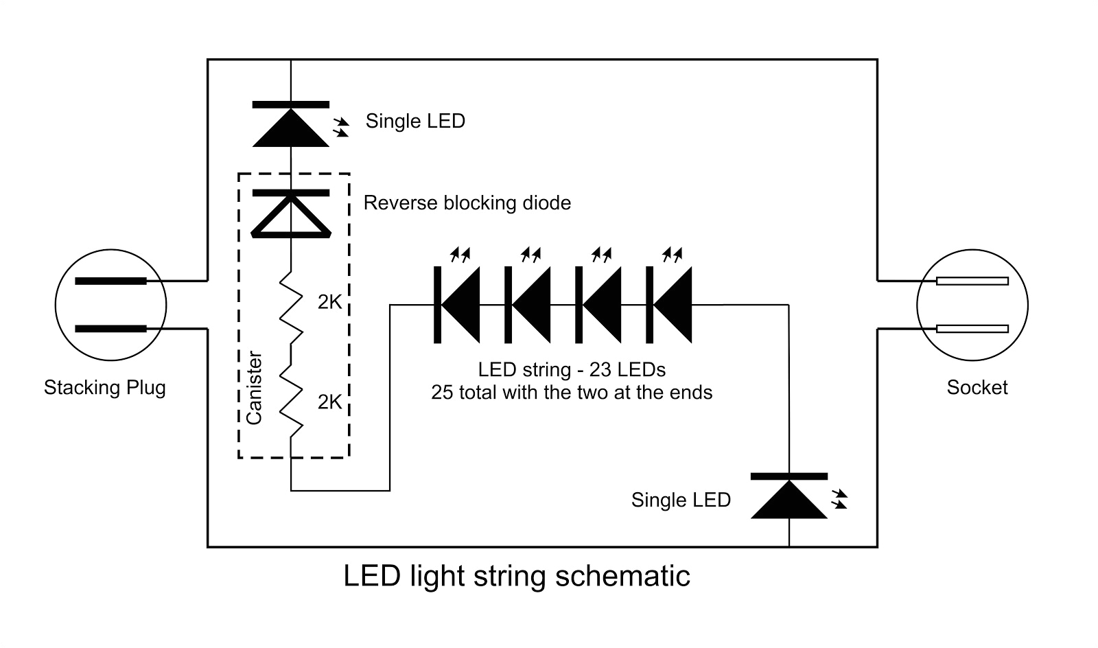 this is a schematic of my led string i clipped the wire at the bottom of the canister the center portion the string of leds can then be separated from