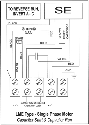 as per the diagram below again the a and c marked leads the run winding will need to be swapped in the terminal block for the motor to run