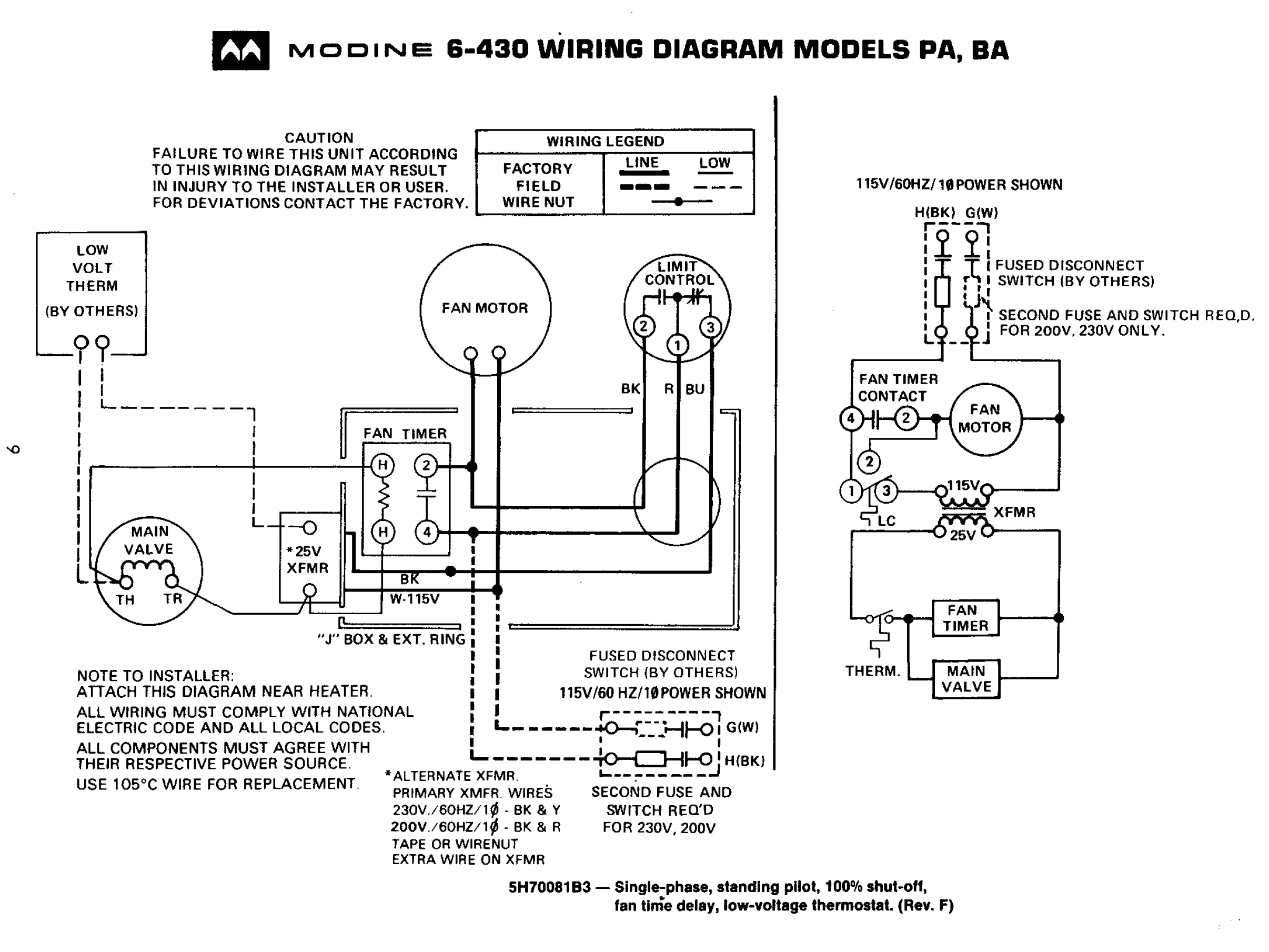 Modine Gas Heater Wiring Diagram Typical Unit Heater Wiring Diagram Wiring Diagram Technic