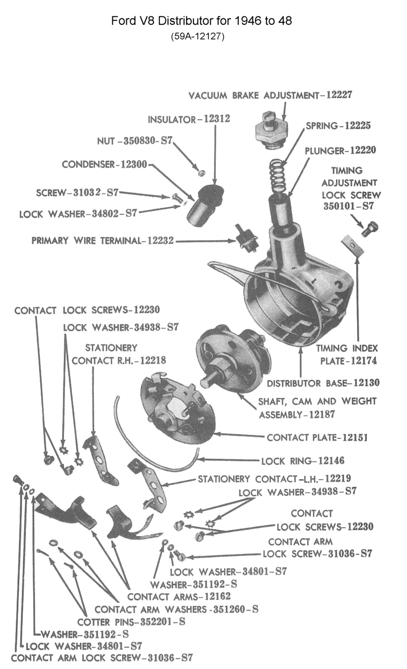 ford distributor for 1945 to 48 v8 photo guts