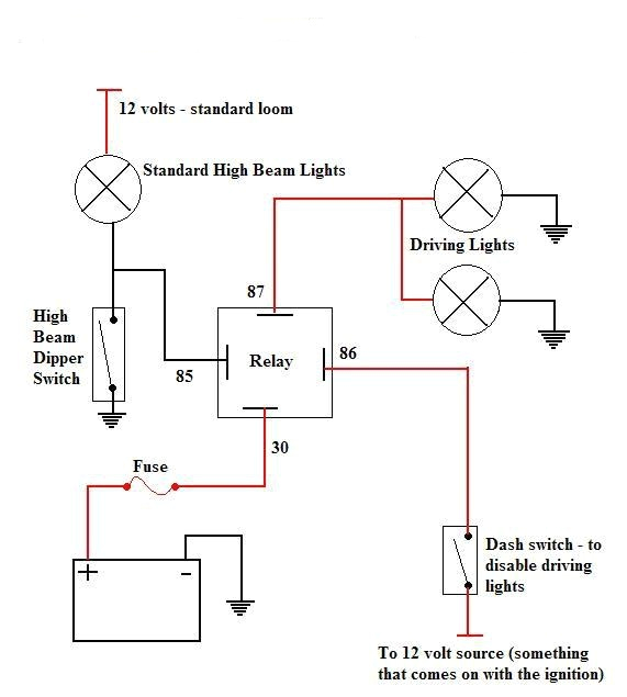 spotlight wiring diagram with relay