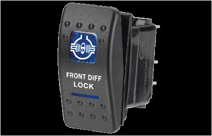 12 volt illuminated off on sealed rocker switch with front diff lock symbol blue