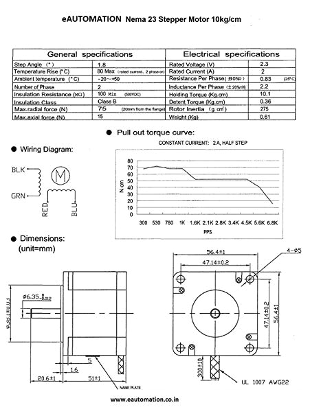 eautomation shop stepper motor 10kg cm nema 23 4 wire bipolar stepper motor 10kg torque amazon in industrial scientific
