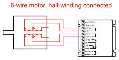 6 wire step motor half winding connection diagram