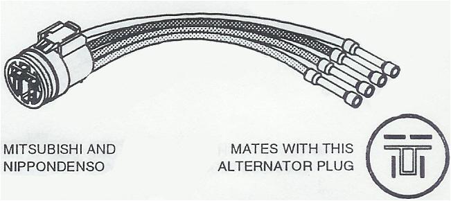 c1860 repair connector voltage regulator mitsubishi and nippondenso type alternators 4 pin round plug