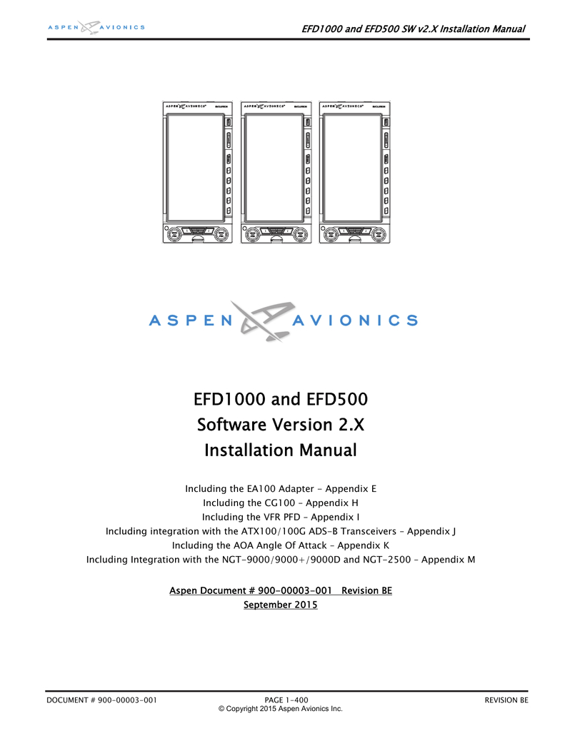 efd1000 and efd500 software version 2 x installation manual