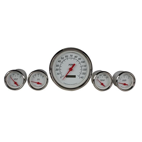 universal fit analog gauge series electric gauge style dash cluster gauge set design white