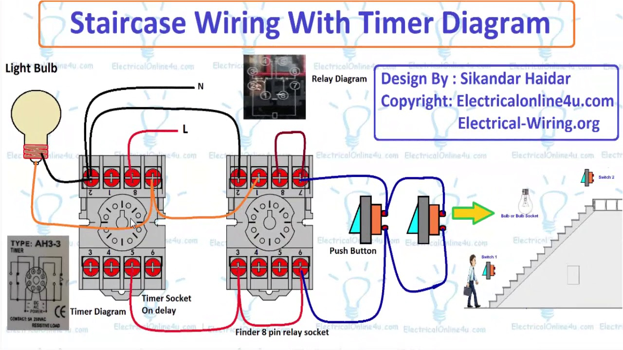 staircase wiring with timer diagram explain hindi urdu timer power wiring diagram electrical timer wiring diagram