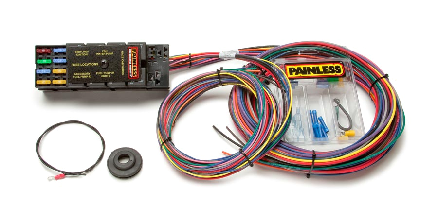 10 circuit race only chassis harness painless performance automotive wiring harness and fuse box