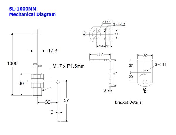 1000mm pole 17mm diameter with angle bracket fits models le p les a sz 60l sz 60t