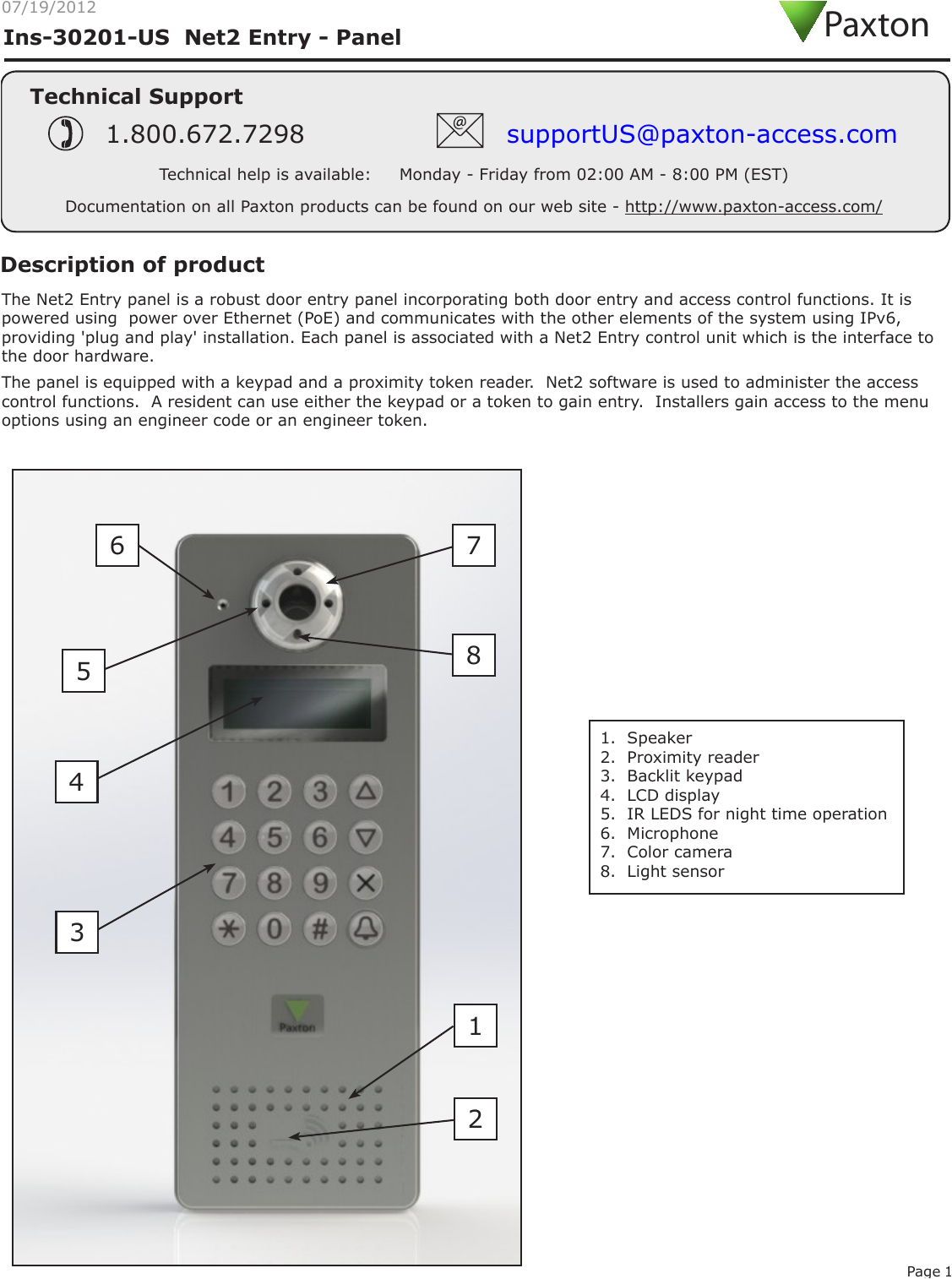 Paxton Switch 2 Wiring Diagram 337837 Net2 Entry Panel User Manual Instruction Net2 Entry