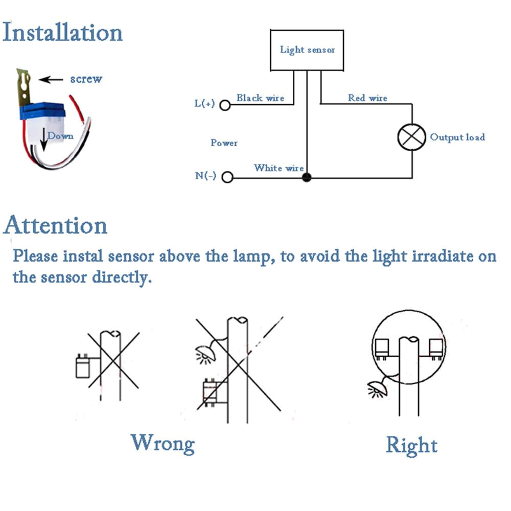 Photocell Switch Wiring Diagram Auto On Off Switch Controller Light Sensor 10m Distance 220v Photocell Street 50 60hz 10a Photo Control Automatic Fast Ship Hl