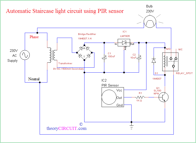 automatic staircase light using pir sensorcircuit diagram automatic staircase light