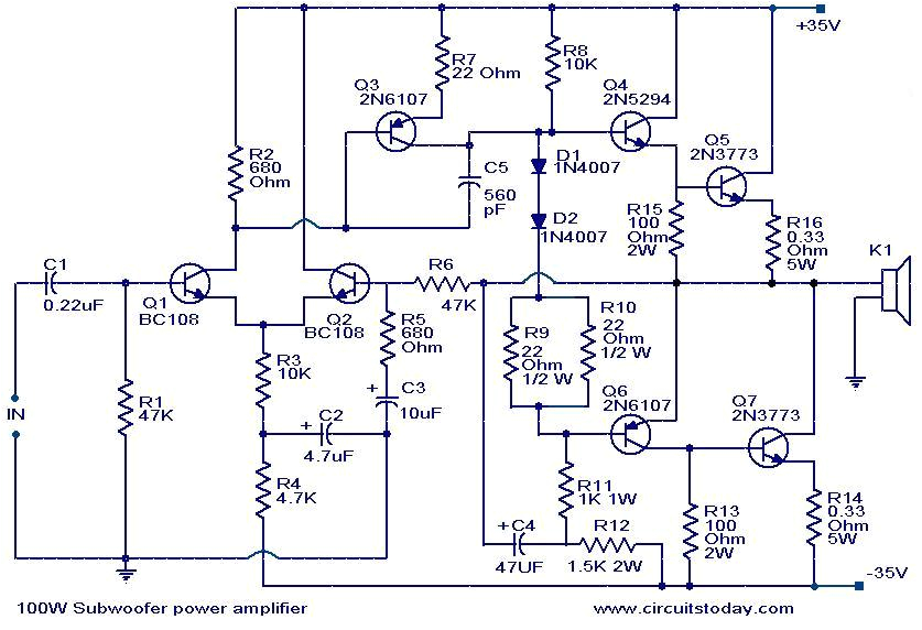 100 watt sub woofer amplifier working and circuit diagram high power audio amplifier circuit diagram 100 watts into a 4 ohms