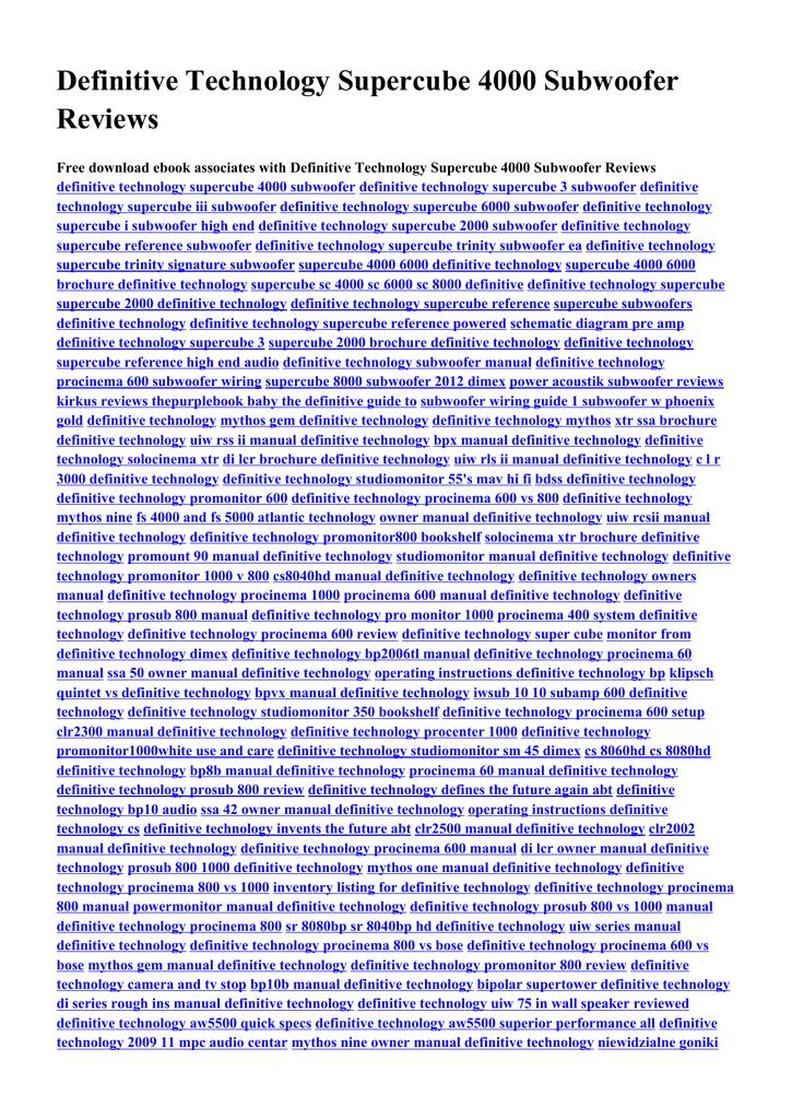Procinema 600 Wiring Diagram Definitive Technology Supercube 4000 Subwoofer Reviews Free