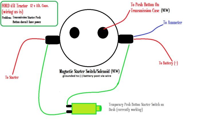 push button starter switch wiring diagram ford 601 651 starter switch wirin yesterday u0027s tractorsthird party image