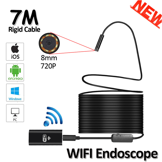 8led 8mm od 7m wifi endoscope camera 2mp 720p snake usb flexible hard wire iphone android ios pipe inspection endoscope camera